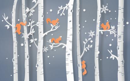 リスと一緒に冬の季節のイラストが木に登り、雪が輝いています。ペーパーアートスタイル。