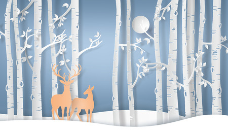 Illustration of winter season deer in forest with fullmoon.vector paper art style. Stock Illustratie