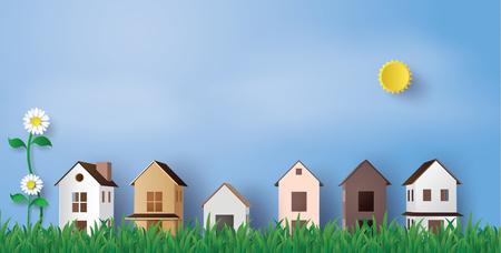 Papierkunst des Hauses im grünen Feld und des blauen Himmels Standard-Bild - 90455338