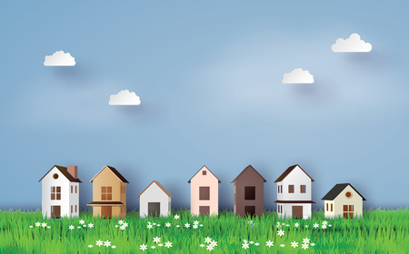 Paper art of house in green field and blue sky. 免版税图像 - 90455337