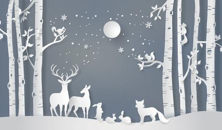 Ilustração da estação do inverno e do Feliz Natal. O animal na floresta com fullmoon, arte de papel e estilo de artesanato