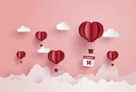 Illustration of love and valentine day,Origami made hot air balloon float on the sky.paper art style.