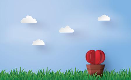 Illustration de l'amour et le jour de la Saint-Valentin, Origami fait arbre en forme de coeur avec pot mis dans le ciel vert et bleu en arrière-plan. Art de papier et style d'artisanat. Banque d'images - 90455371