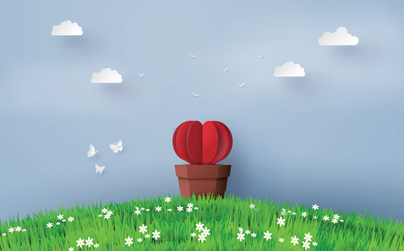 Illustration of love and valentine day, Origami made Heart shape tree with pot set in the greensward and blue sky in the background. Paper art and craft style. 向量圖像