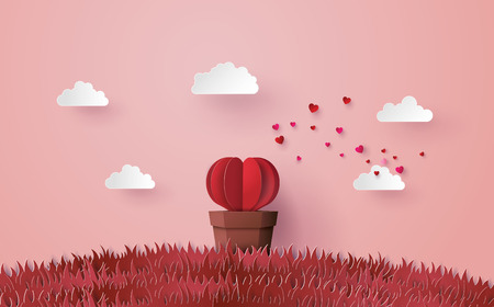 Illustration of love and valentine's day, Origami made Heart shape tree with pot set in the pink grass, Paper art and craft style. Illustration