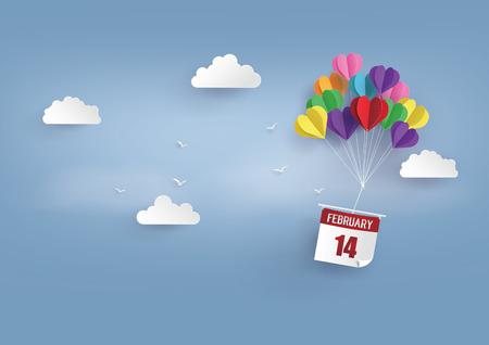사랑과 발렌타인 하루의 그림, 종이 접기 만든 뜨거운 공기 풍선 float sky.paper 아트 스타일. 일러스트