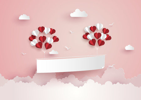 Illustration of Love and Valentine Day,Paper hot air balloon heart shape floating on the sky , Paper art and craft style. Imagens - 92599764