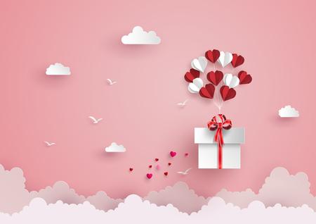 A ilustração do amor e do dia de são valentim, forma do coração do balão pendura o flutuador da caixa de presente no estilo da arte de sky.paper.