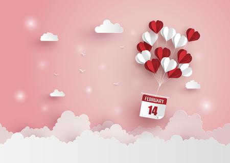 Ilustração do amor e do dia de são valentim, forma de papel do coração do balão de ar quente que flutua no céu, na arte de papel e no estilo do ofício.