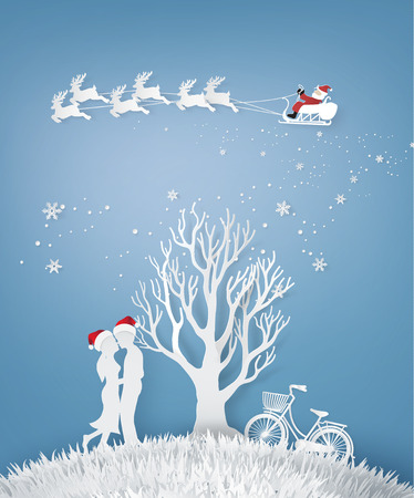 Illustration of Love ,Lovers are hugging  In a meadow with tree without leave and Santa Claus on the sky , Winter and Christmas season, Paper art and craft stlye.
