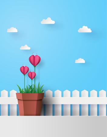 Aftelkalender voor Valentijnsdag Illustratie Pink Flower Heart in Pot Dichtbij het witte hek geplaatst met een hemelachtergrond en wolken. Papierkunst en ambachtelijke stijl.