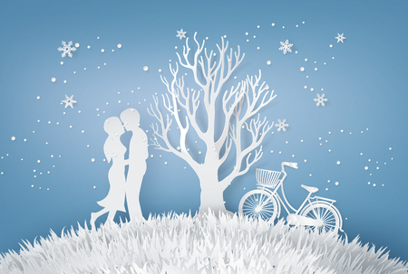 Illustration of Love ,Lovers are hugging  In a meadow with tree without leave In the Winter and Christmas season. Paper art and craft stlye.