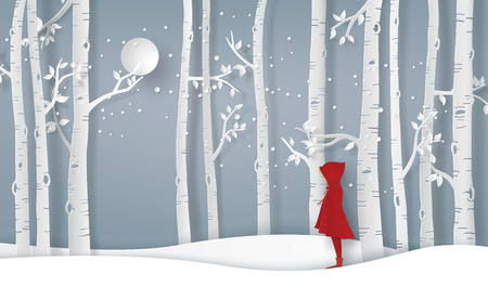 Winter season with the girl waer red topcoat in the forest. Paper art and craft style.