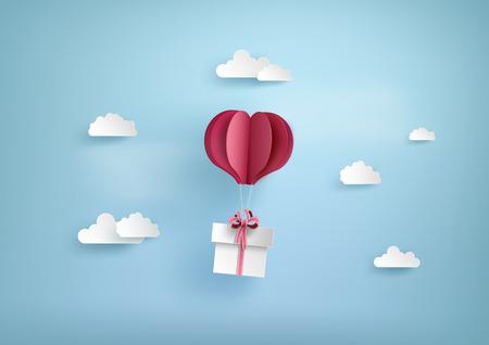 사랑과 발렌타인 하루, 풍선 심장 모양의 그림 sky.paper 아트 스타일에 선물 상자 플 로트 만요.