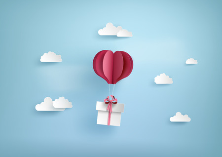 Illustration of love and valentine day, balloon heart shape hang the  gift box float on the sky.paper art style. 向量圖像
