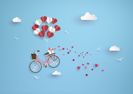 Illustration of love and valentine day, balloon heart shape hang the  pink bicycle float on the sky.paper art style.