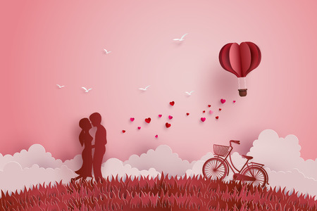 Illustration of Love and Valentine day,Lovers stand in the meadows and a paper heart shape balloon floating in the sky. Paper art and craft style.