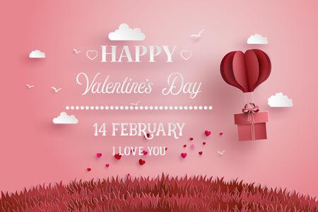 Illustration der Liebe und des Valentinstags, Origami ließ Heißluftballon über Gras mit Herzen auf den Himmel schweben Papierkunstart fliegen. Vektorgrafik