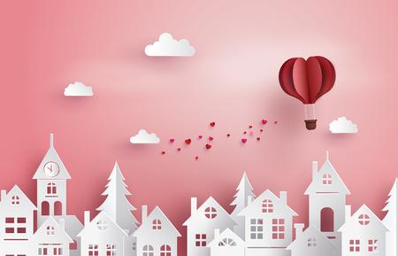 愛とバレンタインデーのイラスト、村の上空に浮かぶ紙熱気球ハート形状、ペーパーアートとクラフトスタイル。  イラスト・ベクター素材