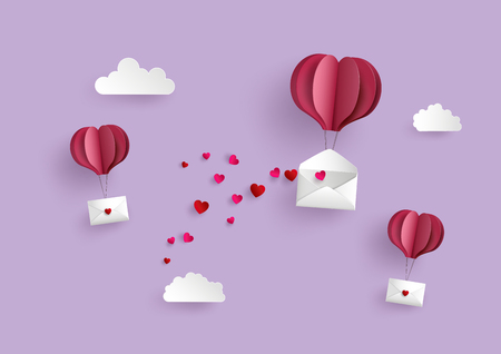 Illustration of Love and Valentine Day,Paper hot air balloon heart shape hang envelope floating on the sky , Paper art and craft style.