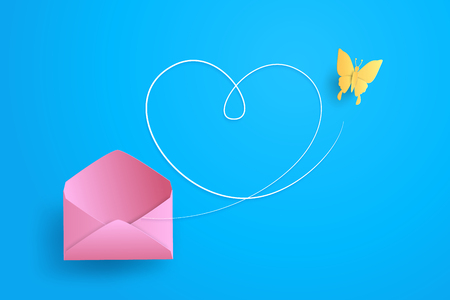 Illustration of Love and Valentine day Butterfly fly out of the envelope. Paper art and craft style. Illustration