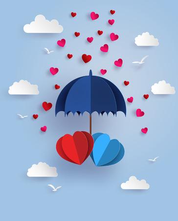 사랑과 발렌타인 하루, 구름, 하늘에 떠있는 파란색 우산 아래 쌍둥이 심장의 개념 종이 예술과 공예 스타일.
