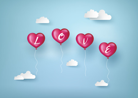 Concept of Valentine day, balloon in a heart shape with Love message floating in the air, Paper art and craft style. Ilustração
