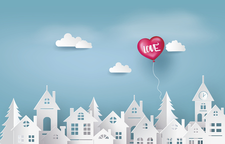 Illustration of Love and Valentine Day, balloon heart shape floating on the sky over village , Paper art and craft style. Stock Illustratie
