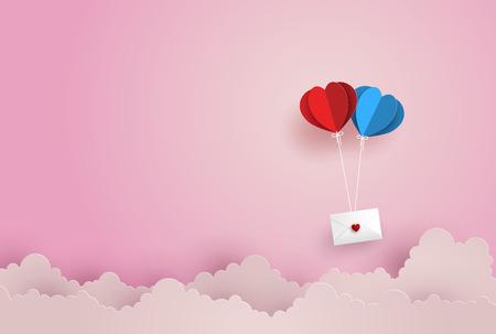 Ilustração do amor e do dia de são valentim, envelope gêmeo de papel do cair da forma do coração do balão de ar quente que flutua no céu, na arte de papel e no estilo do ofício. Foto de archivo - 93689483