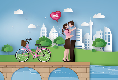 Illustration of Love and Valentine Day, couple standing hugging on the bridge in the city. Paper art and craft style. Stock Vector - 93689484