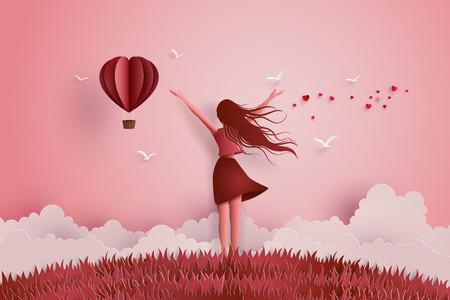 Concept van vrijheid liefde en valentijn dag, mooi meisje strekt haar armen over de hemel met papieren hart ballon. Papier kunst en ambachtelijke stijl.