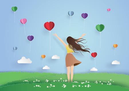 Illustratie van liefde en valentijn dag, mooi meisje strekt haar armen over de hemel met papier hart ballon. Papier kunst en ambachtelijke stijl. Stock Illustratie