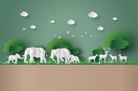 Eco concept and World Wildlife Day with the elephant and deer in forest Illustration