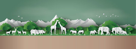 Eco concept and World Wildlife Day with the animal in forest Illustration