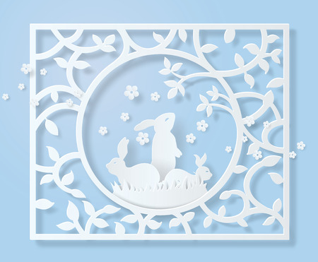 Happy Easter day frame of paper cut with rabbit and tree. Stock Illustratie