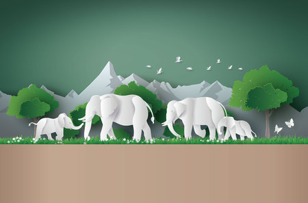 World elephant Day. Family of elephant in the forest Illustration