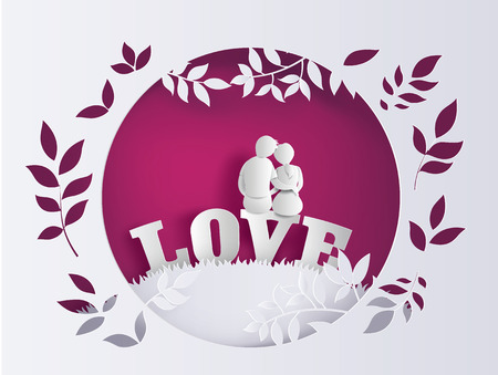 Illustration of love and valentines Day with couple sitting on word LOVE in the field