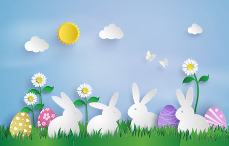 Illustration of Easter day with egg and rabbit in grass