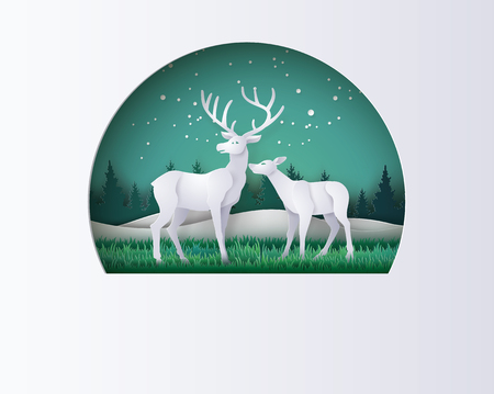 Deer in forest with snow in the winter season.vector paper art style.