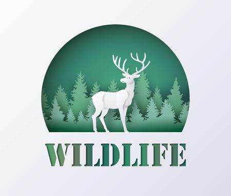 Día mundial de la vida silvestre con ciervos en el bosque, arte en papel y estilo artesanal digital.