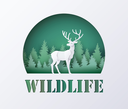 World Wildlife Day with deer in forest , Paper art and digital craft style. Çizim