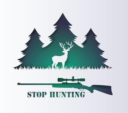 Concept of stop hunting animal with rifle and deer , Paper art and digital craft style.