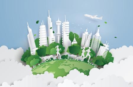 Illustration des Öko-Konzepts, grüne Stadt auf dem Himmel. Papierkunst und digitaler Bastelstil.