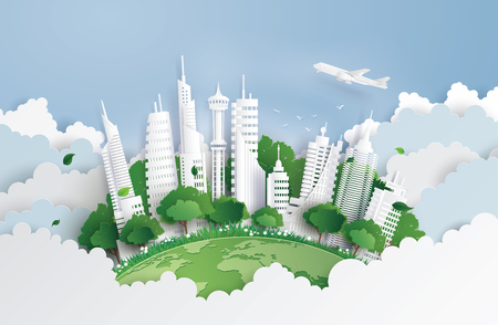 concept of green city with building on sky. Paper art and digital craft style.
