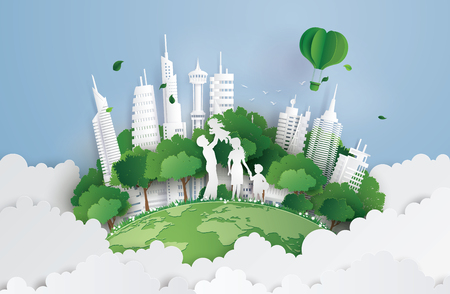 concept of green city with family.paperart and digital craft style. Vectores