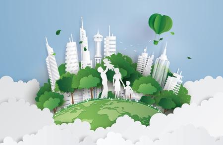koncepcja zielonego miasta z rodziną. papierowy i cyfrowy styl rzemiosła.