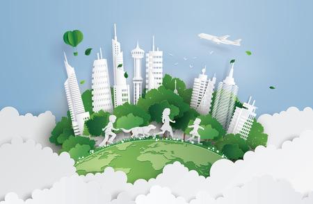 Illustrazione di eco e ambiente con bambini che corrono nel parco cittadino. Arte su carta e stile artigianale digitale.