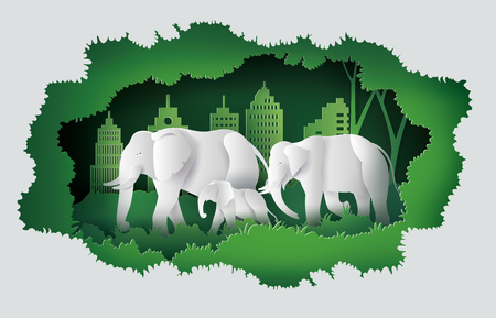 Concept of World elephant Day ,family of elephant in the forest and city , Paper art and digital craft style.