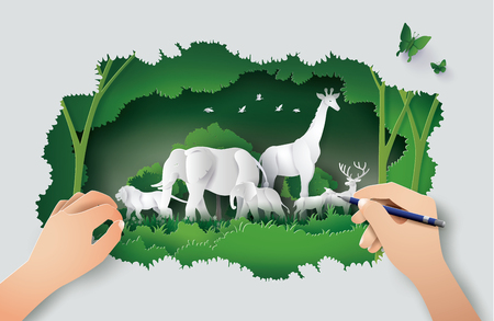 Concept of hand drawing with World Wildlife Day with the animal in forest , Paper art and digital craft style. Иллюстрация
