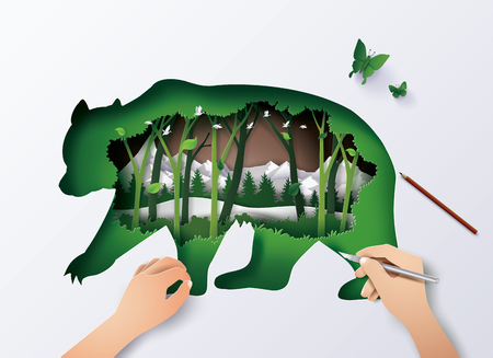 Concept of World Wildlife animal,double exposure with bear and forest, Paper art and digital craft style. Vettoriali